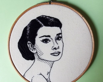 Audrey Hepburn hand embroidered portait - Old Hollywood embroidery hoop art wall decor