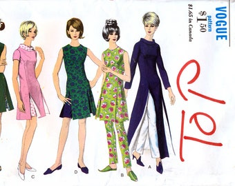 Vogue 6560 Vintage 60s Sewing Pattern for Misses' Tunic and Pants - Uncut - Size 14 - Bust 34