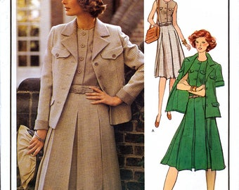 Vogue Paris Original 1209 Vintage 70s Sewing Pattern by Molyneux for Misses' Dress and Jacket - Size 14 - Bust 36