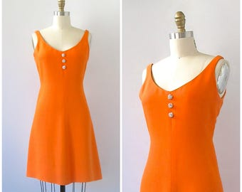 Vintage 1960's Dress | Orange Creamiscle Cocktail Dress | Rhinestone Buttons | Cocktail, Midcentury, Mad Men | Size Medium