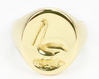Men's Gold Ring, Men ring, Fishers signet gold ring, Signet ring, Men signet ring, Pinkie ring, Pelican gold ring, Ring gift for men