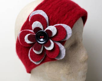 Red 100% Felted Cashmere UpCycled Cloche Ear Warmer Head Warmer Neck warmer