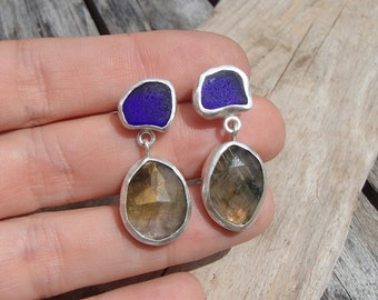 Cobalt Blue Sea Glass and Labradorite Earrings