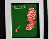 Palestine map | Palestinian gift idea, hand lettered wall art poster | Middle East travel poster