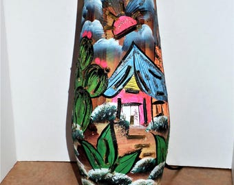Vintage Polynesian Lamp cut out clay hand painted