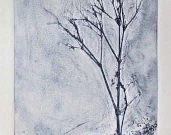 Original collograph print winter tree second print from an edition of three with one proof print