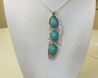 Silver Feather and Turquoise Stone Necklace