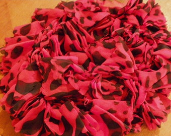 Red & Black Crochet Ruffled Scarf   488  / Free Shipping to US