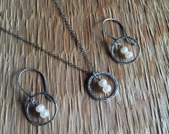 Antiqued Hammered Sterling Silver Orbit & Fresh Water Pearl Necklace and Earring Set