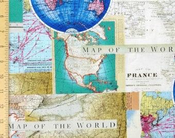 World Map Fabric Windham.  World map fabric Etsy