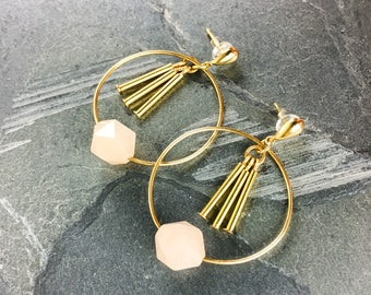 pink gemstone hoop earrings, blush earrings bridesmaid, pink moonstone earrings, thin gold hoops, gold hoop earrings, baby pink earrings