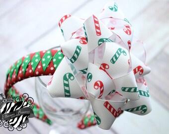 Baby Bows, Toddler Bows, Girls Hair Bows, Woven Headband, Christmas Headband Bow, Holiday Headband Bow, Candy Cane Headband Bow, Gift Bow