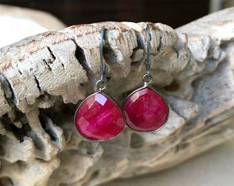 Silver Ruby Bezel Earrings