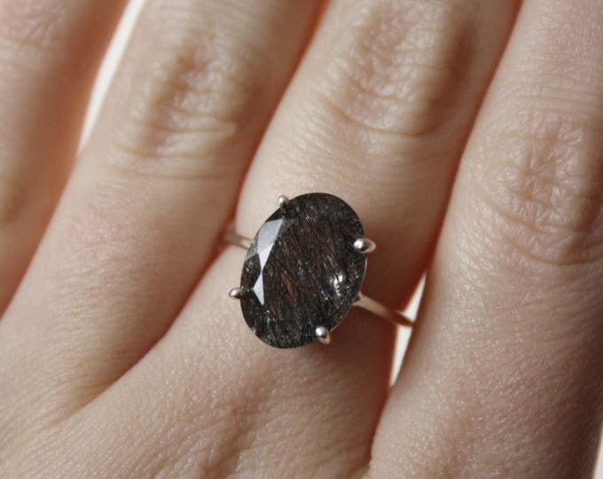 Large Faceted Oval Tourmalinated Quartz Ring in sterling silver - rutilated quartz ring - gemstone ring - unique engagement ring