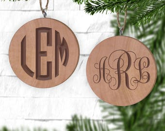 Vine Monogram or Circle Monogram Ornament - Personalized Ornament - Engraved Wooden Gift Tag - Engraved Wooden Christmas Ornament