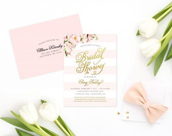 Bridal or Baby Shower Invitation - Gold and Pink Feminine Shower