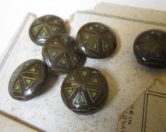 Vintage Round Czechoslovakia Buttons Brown and Green