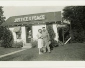 "Vintage Photo ""Happy and Just Married"" Snapshot Antique Black & White Photograph Found Paper Ephemera Vernacular Interior Design Mood - 126"