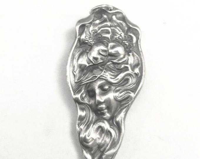 Goddess Necklace, Sterling Silver Spoon Necklace, Poppy Flower, Evangeline, Art Nouveau Necklace, Handmade Jewelry, Goddess Pendant (6685)