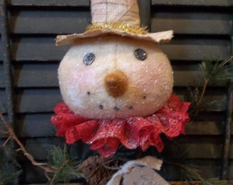 Sweet Prim Handmade Snowman Make-Do on Old Rusty Bed Spring - Christmas/Holiday