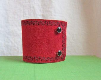Red Cuff Bracelet, Cuff Bracelet for Woman, Red Leather Cuff, Statement Cuff, Holiday Cuff, Red and Black Bracelet, Embroidered Wrist Cuff