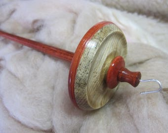 Top Whorl Drop Spindle in Blued Ponderosa Pine, Pink Ivory & Bubinga by Ken Mocker of Silly Salmon Designs