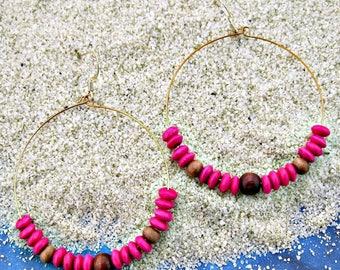 Big hoop earrings, Wood earrings, Boho earrings, Beaded earrings, Bohemian fashion, Memory wire earrings, Beach wear, Statement earrings