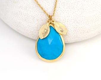 Turquoise Necklace Gold, December Birthstone Necklace, Personalized Necklace, Bridal Shower Gift, Initial Leaf Custom Necklace, New Mom Gift