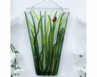 Wall Art, Fused Glass, Wall Vase, Glass Pocket