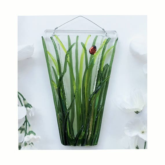 Mini Grass with or without ladybugs. Wall Art, Fused Glass, Wall Vase, Glass Pocket