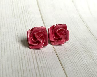 Origami Rose Earrings // Dark Pink Shimmer