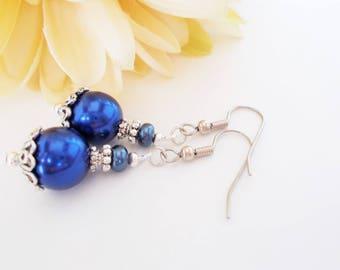 Cobalt Earrings, Something Blue Bridal Jewelry, Bridesmaids Gift Handmade, Navy Blue Pearl Earrings Drop, Easter Basket Stuffer Gift for Her