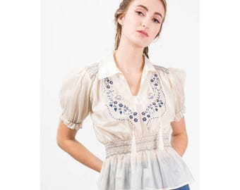 Vintage Hungarian peasant blouse / 1930s 1940s embroidered smocked early nylon top / Puff sleeves /  AS IS
