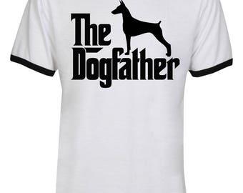 The Dogfather Doberman Shirt - The Dog Father Doberman Shirt - Doberman Dog Shirt - Dog Dad - Men Unisex Ringer Tee T-Shirt - IZRSUB177