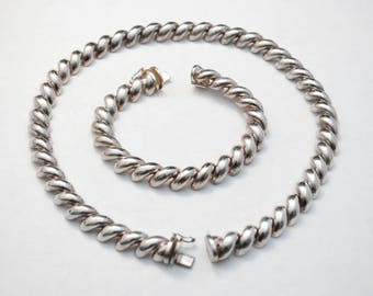 San Marco Sterling Bracelet and Necklace Set - Silver - 925 - BREV ITALY - Macaroni