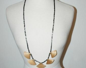 VINTAGE Art Deco Stones and Brass Long Necklace / 1920's Flapper / Statement Necklace