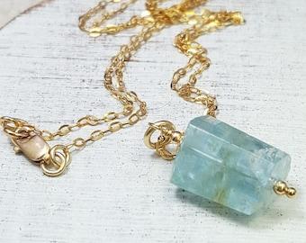 Aquamarine necklace. Raw Aquamarine pendant. Gold Aquamarine necklace. Rough Aquamarine jewelry. birthstone jewelry. March birthstone.