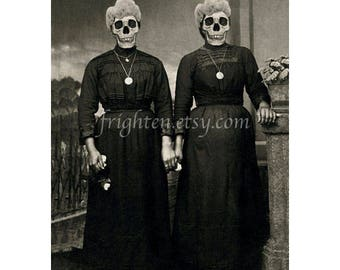 Creepy Art Print, Halloween Decor, Skull Art Print, Black and White, Twin Sisters, Day of the Dead, Horror Art