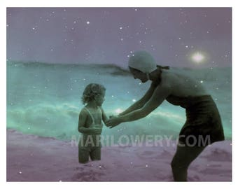 Mother and Child Swimming in Ocean Purple and Aquamarine Mixed Media Collage 11 x 8.5 inch Art Print, frighten