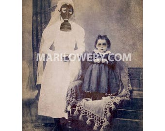 Creepy Decor, Gas Mask Dark Art Print, Halloween Decor, 8.5 x 11 Inch Print, Macabre Horror Art, Mixed Media Collage