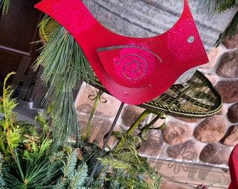 Cardinal Stake for Garden or Home - Hidden Hollow Garden Art