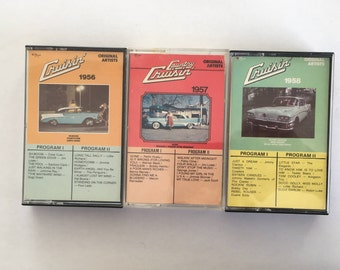 Cruisin' 1956 - 1957 - 1958 - 3 vintage tape cassette - compilation - doo wop  rock n roll rockabilly music - 80s - Free shipping Canada USA