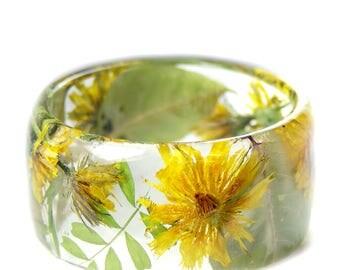 Dandelion Flower Bracelet -Real Flower Jewelry  - Real Flower Jewelry- Flower Jewelry - Yellow Flower Jewelry-  Dandelion Jewelry