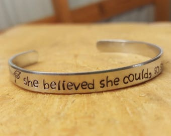 Graduation Bracelet She Believed She Could So She Did, Personalized, Hand Stamped, Customized