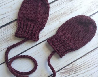 Dark Red Baby Mittens, Infant Mittens, Knit Wool Mittens, Wool Baby Mittens, Mittens With Cord, Hand Knit Wool Mittens