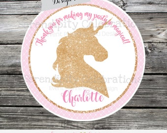 Pink and Gold Unicorn Favor Tags, Unicorn Stickers, Set of 12 Personalized Favor Tags, Stickers, Thank You Tag, Unicorn baby shower, glitter