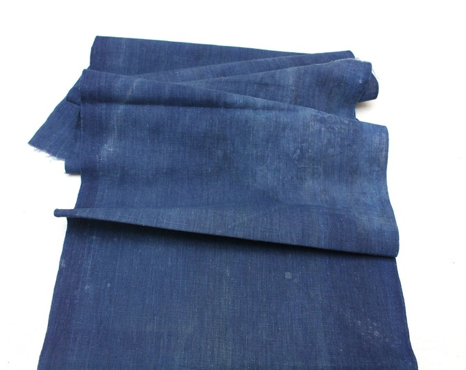 Japanese Indigo Cotton. Artisan Aizome Boro Textile. Blue Vintage Folk Fabric (Ref: 1723)