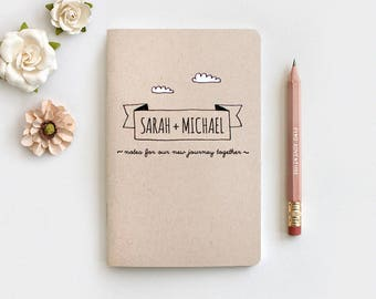 Wedding Gift Personalized Notebook & Pencil Set, 1st Anniversary Gift for Couple, Notes for our Journey Together