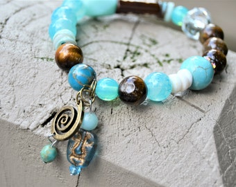 Mixed Bead Rustic Bracelet Tigers Eye Turquoise Crystal Beads Stretch Charm Bracelet