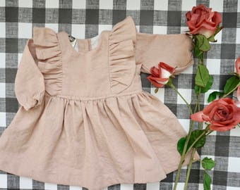 The Hollie Dress, Infant Dress, Baby Cotton Dress, Flutter sleeve Dress, Linen Dress